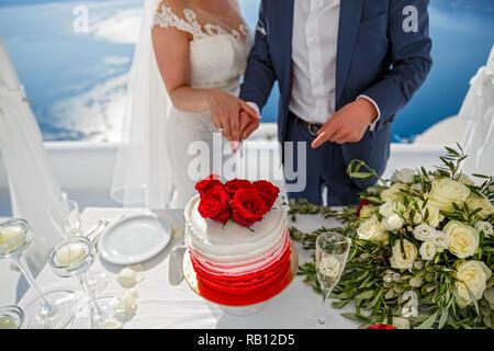 Beautiful young couple cuts the wedding cake - Stock Photo