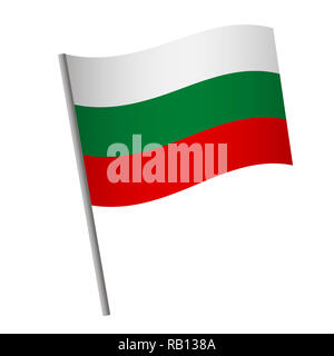Bulgaria flag icon. National flag of Bulgaria on a pole  illustration. - Stock Photo