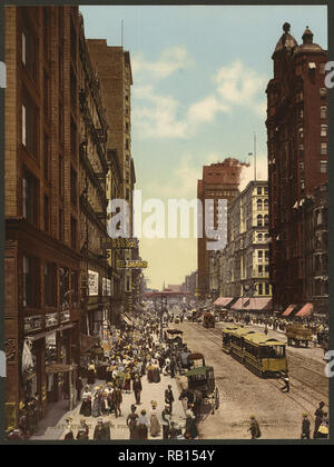 State Street, north from Madison, Chicago 1900.jpg - RB154Y 1RB154Y - Stock Photo