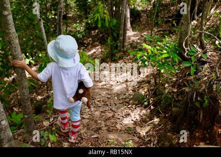 A young girl walking through a forest holding a teddy bear, Alligator Creek, Townsville, Qld, Australia - Stock Photo