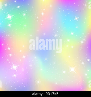 Unicorn background with rainbow mesh. Kawaii universe banner in princess colors. Fantasy gradient backdrop with hologram. Holographic unicorn backgrou - Stock Photo