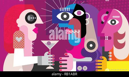 A woman with a cocktail. Three friends drinking cocktail at nightclub party. Modern abstract art vector illustration. - Stock Photo