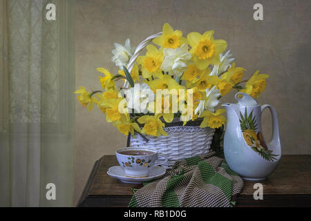 Still life with bouquet of daffodils - Stock Photo