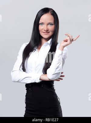 business woman with finger point up posing on white background - Stock Photo