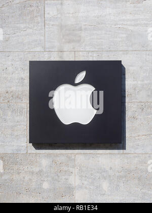 BERLIN, GERMANY - OCTOBER 10, 2018: Apple Logo At Apple Store In Berlin, Germany - Stock Photo