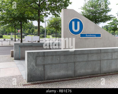 BERLIN, GERMANY - AUGUST 4, 2017: Entrance To Metro Station Bundestag In Berlin, Germany - Stock Photo