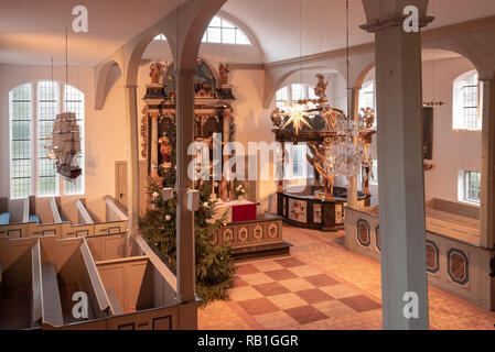 Prerow, Germany - December 30, 2018: View into the Seemannskirche Prerow. It dates back to the 18th century, is the oldest church on the Darß and once - Stock Photo