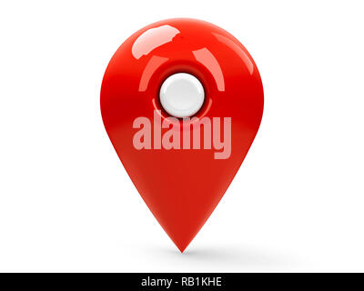 Red map pointer isolated on white background, three-dimensional rendering, 3D illustration - Stock Photo