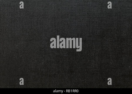 Deep black background with  grid pattern and white dots. Canvas texture of old book cover - Stock Photo
