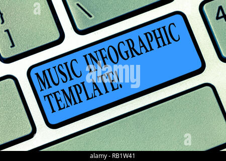 Word writing text Music Infographic Template. Business concept for representation of information in a graphic format Keyboard key Intention to create  - Stock Photo