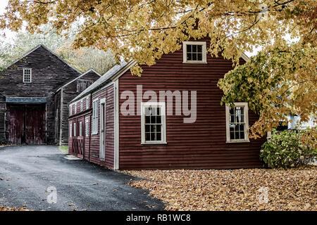 A barn in Old Deerfield Village, Deerfield, MA - Stock Photo