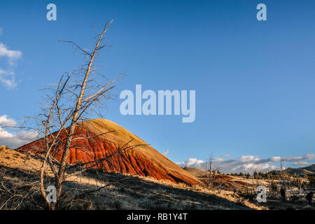 Golden and Red Red Hill at Painted Hills at John Day Fossil - Stock Photo