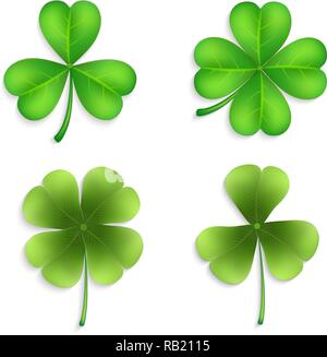 Collection of four-leaf clovers. Clover leaves set - quarterfoil and trefoil. Vector set of green clover leaves for design. - Stock Photo