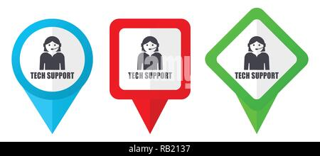 Support red, blue and green vector pointers icons. Set of colorful location markers isolated on white background easy to edit in eps 10 - Stock Photo