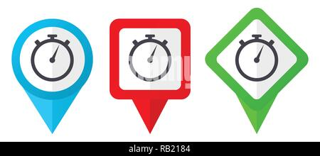 stopwatch red, blue and green vector pointers icons. Set of colorful location markers isolated on white background easy to edit in eps 10 - Stock Photo
