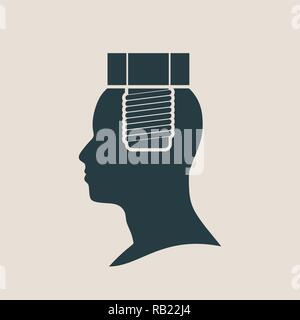 silhouette of a mans head with screw - Stock Photo