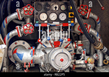 Back of fire engine water pump - Stock Photo