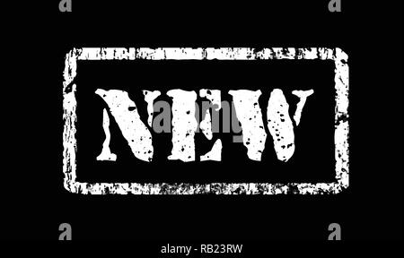 Stamp New in grunge style, vector illustration on black - Stock Photo