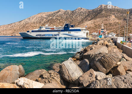 SIFNOS, GREECE - September 10, 2018: Speed Runner III ferry boat arrived at port of Kamaresi town in Sifnos Greece. - Stock Photo