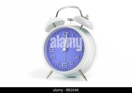 Twin bells analogue alarm clock with blue clock face shows 1 past 12, 12.01 AM PM; concept on white background - Stock Photo