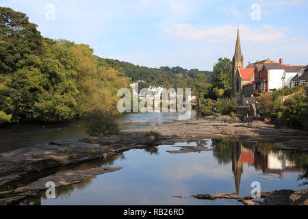 Llangollen, Dee River, Dee Valley, Denbighshire, North Wales, Wales, United Kingdom - Stock Photo