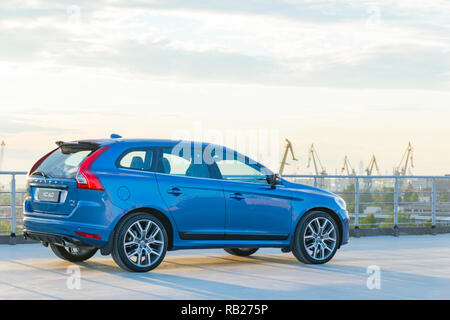 St. Petersburg, Russia - June 17, 2017: A modern luxury swedish car Volvo XC60 R-Design Polestar Edition on the roof of the building on a test drive i - Stock Photo