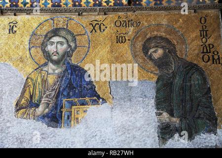 Deesis Mosaic depicting Christ, Hagia Sophia, Aya Sofya, UNESCO World Heritage Site, Istanbul, Turkey, Europe - Stock Photo