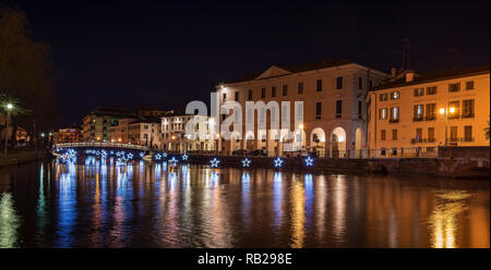 Christmas Decoration On A Canal At Night Murano Venice