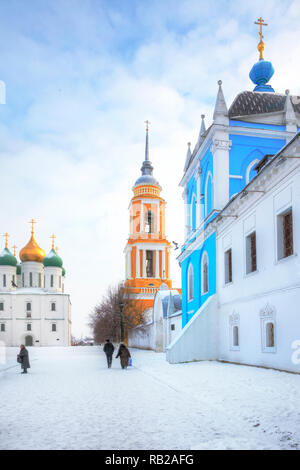 KOLOMNA, RUSSIA - January 05.2009: Historic temple complex on the territory of the Kremlin. The historic center of the city - Stock Photo
