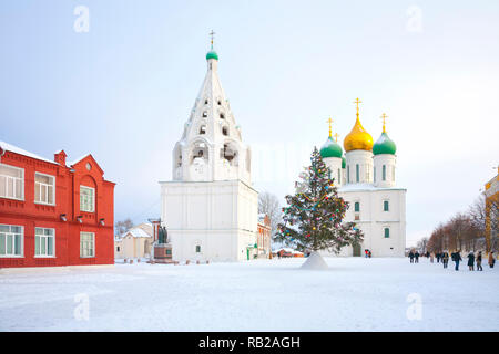 Historic temple complex on the territory of the Kremlin in the city of Kolomna. Assumption Cathedral and Assumption Tent Belfry - Stock Photo