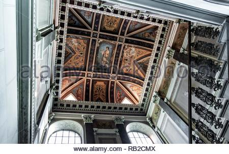 A beautiful ceiling painted with frescoes - Stock Photo