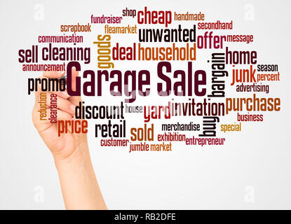 Garage Sale word cloud and hand with marker concept on white background. - Stock Photo