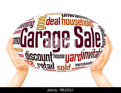 Garage Sale word cloud hand sphere concept on white background. - Stock Photo