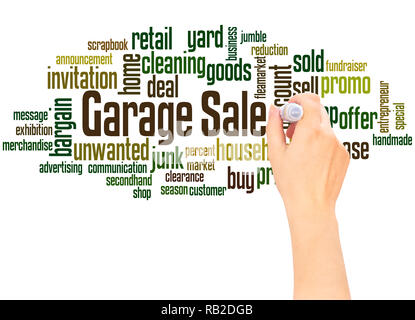 Garage Sale word cloud hand writing concept on white background. - Stock Photo