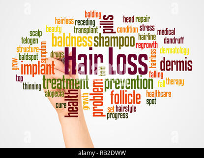 Hair loss word cloud and hand with marker concept on white background. - Stock Photo