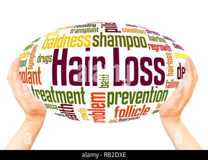 Hair loss word cloud hand sphere concept on white background. - Stock Photo