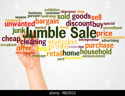 Jumble Sale word cloud and hand with marker concept on white background. - Stock Photo