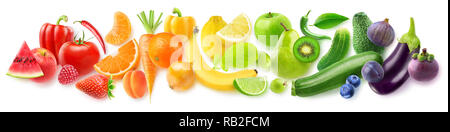 Isolated fruits in a line. Rainbow made of fresh fruits and vegetables isolated on white background with clipping path - Stock Photo