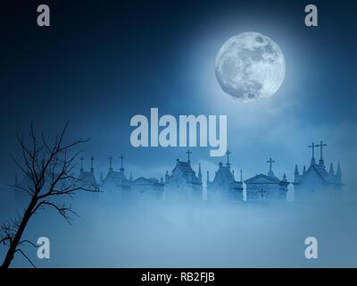Old european cemetery in a foggy full moon night - Stock Photo