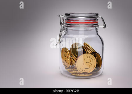 Invest your savings in Bitcoin? 3D Render of golden bitcoin coins in a glass jar - Stock Photo