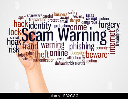 Scam Warning word cloud and hand with marker concept on white background. - Stock Photo