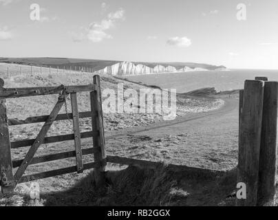 Seven Sisters cliffs from Seaford Head - Stock Photo