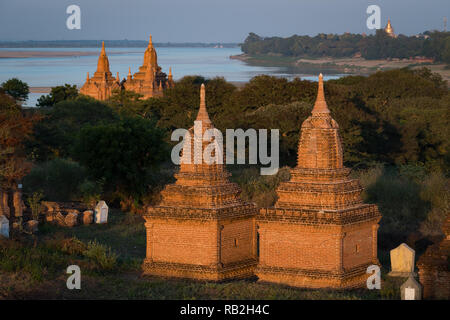 Sunset on the Irrawaddy River, Bagan, Myanmar - Stock Photo