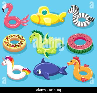Inflatable toy lifebuoys. Swimming pool rings like animal toys, rubber lifebuoy or lifesaver items for summer beach, vector illustration - Stock Photo