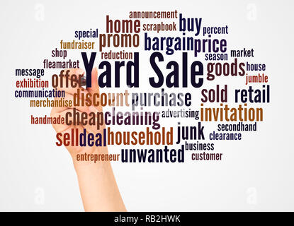 Yard Sale word cloud and hand with marker concept on white background. - Stock Photo