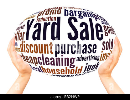 Yard Sale word cloud hand sphere concept on white background. - Stock Photo