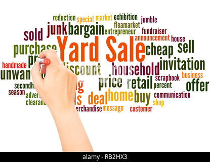 Yard Sale word cloud hand writing concept on white background. - Stock Photo