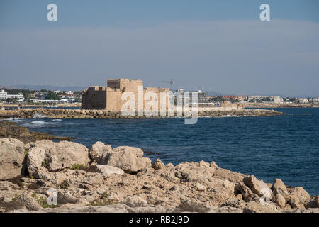 The View from the coastal walk in Paphos Cyprus - Stock Photo