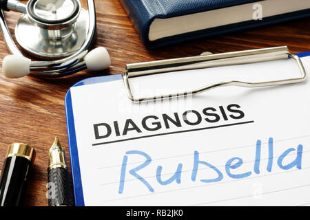Rubella written in a medical diagnostic form. - Stock Photo