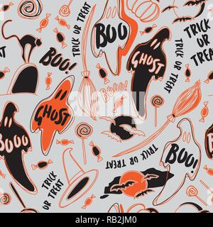 Trick or Treat Halloween Symbols in Black and Orange Seamless Pattern on Grey Background. Ghosts and Bats - Stock Photo